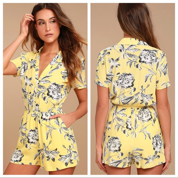 fd0a2f55f BB Dakota Pants | Morgans Yellow Floral Print Romper | Poshmark